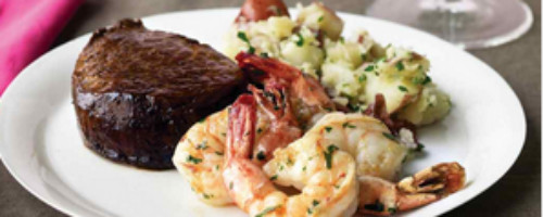 Steak w/ Herb and Garic Prawns and Potatoes