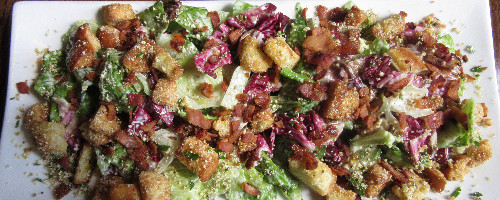 Caesar Salad w/ Grilled Radicchio and lemon zested Croutons