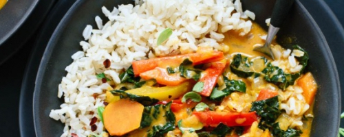Red curry with rainbow vegetables and coconut rice