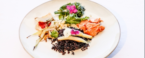 Smoked salmon, Black rice, Sage, Spinach, braised Fennel
